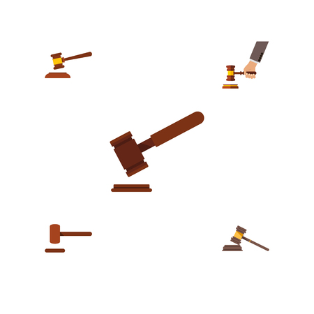 Flat Icon Court Set Of Court, Defense, Crime And Other Vector Objects Illustration