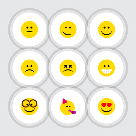 Flat Icon Expression Set Of Joy, Displeased, Sad And Other Vector Objects