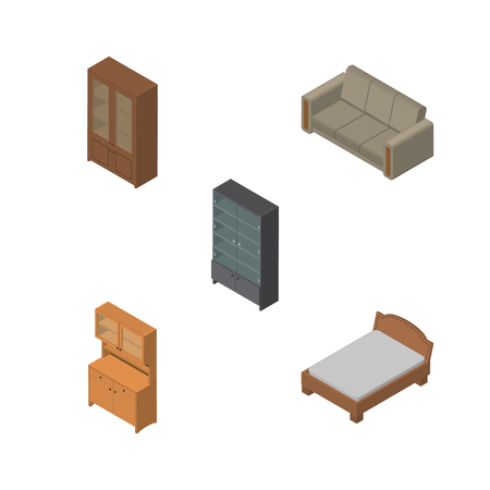 bedstead: Isometric Design Set Of Sideboard, Cabinet, Cupboard And Other Vector Objects