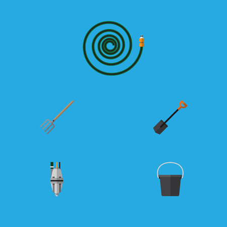 Flat Icon Dacha Set Of Spade, Hosepipe, Pump And Other Vector Objects Illustration