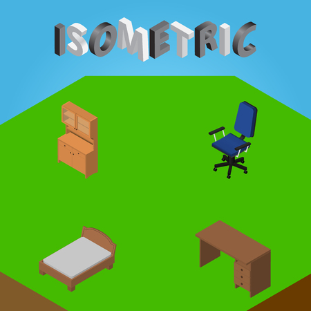 Isometric Furnishing Set Of Table, Cupboard, Bedstead And Other Vector Objects