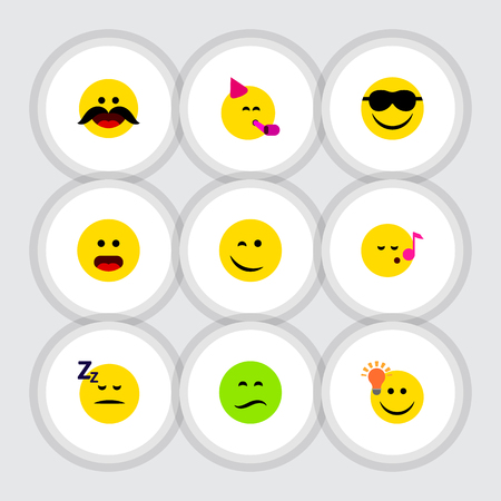 Flat Icon Emoji Set Of Happy, Cheerful, Asleep And Other Vector Objects