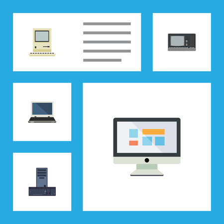 computerized: Flat Icon Laptop Set Of Display, Notebook, Processor And Other Vector Objects