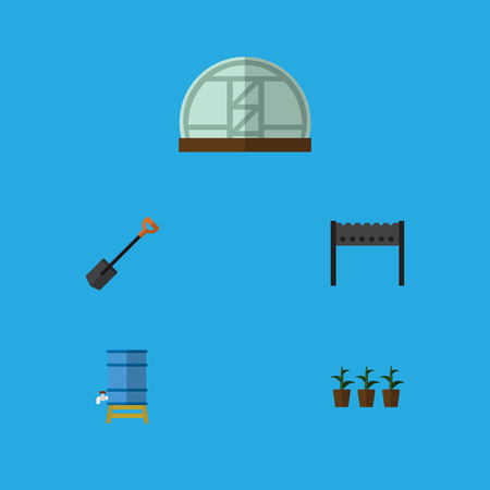 Flat Icon Garden Set Of Flowerpot, Container, Spade And Other Vector Objects Illustration