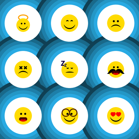 Flat Icon Emoji Set Of Love, Smile, Cross-Eyed Face And Other Vector Objects
