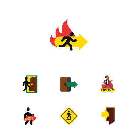 doorknob: Flat Icon Exit Set Of Exit, Direction Pointer, Evacuation And Other Vector Objects Illustration