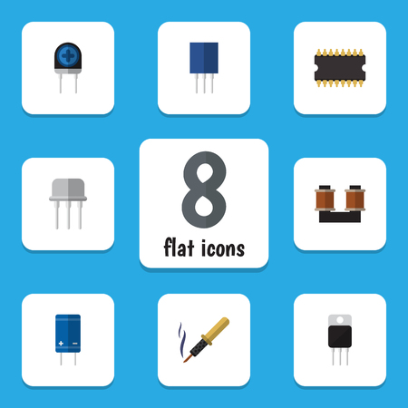 Flat Icon Device Set Of Coil Copper, Receiver, Transistor And Other Vector Objects