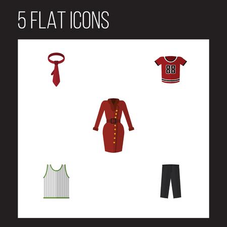 Icône plate robe ensemble de vêtements, T-Shirt, Cravat et autres objets vectoriels Banque d'images - 83283861