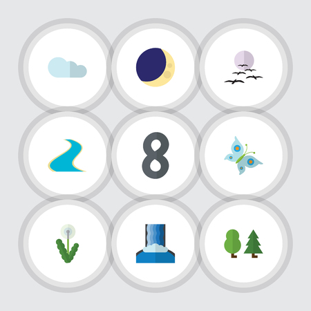 Flat Icon Natural Set Of Monarch, Forest, Tributary And Other Vector Objects