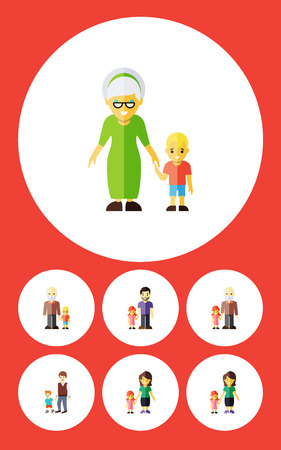 Flat Icon Relatives Set Of Grandma, Grandson, Boys Vector Objects Illustration