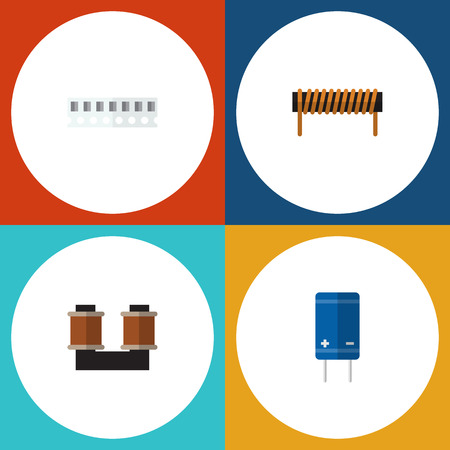Flat Icon Appliance Set Of Bobbin, Transistor, Memory And Other Vector Objects