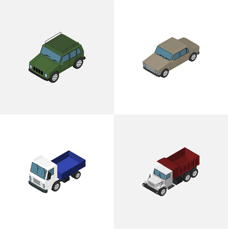 Isometric Car Set Of Armored, Lorry, Auto And Other Vector Objects Illustration