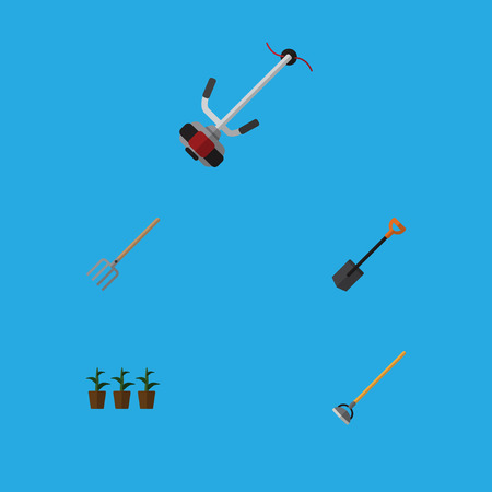 Flat Icon Farm Set Of Hay Fork, Tool, Flowerpot And Other Vector Objects