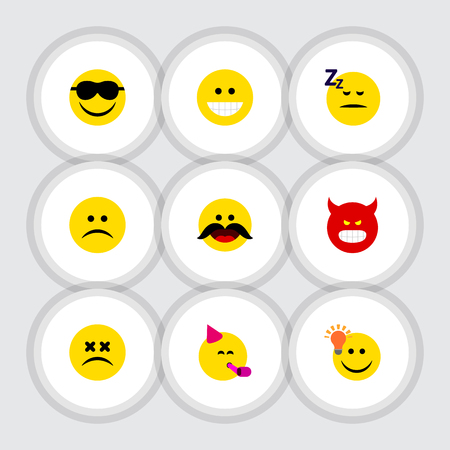 Flat Icon Emoji Set Of Have An Good Opinion, Sad, Grin And Other Vector Objects Illustration