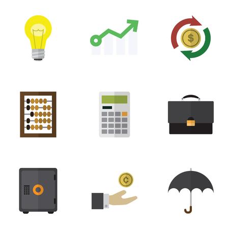 フラット アイコン着信を成長、カウンター、金庫、他のベクトル オブジェクトの設定