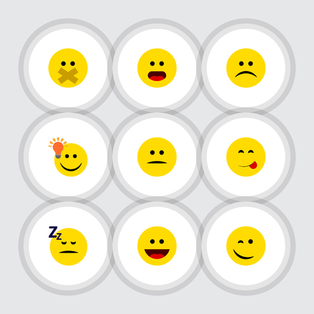 Flat Icon Face Conjunto De Comida Deliciosa, Tiene Una Buena Opinión, Wonder Y Otros Objetos Vectoriales. También incluye Displeased, cara, durmiendo elementos. Ilustración de vector