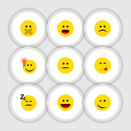 Flat Icon Face Set Of Delicious Food, Avoir une bonne opinion, Wonder et d'autres objets vectoriels. Comprend également les éléments maladroits, le visage, le sommeil. Vecteurs