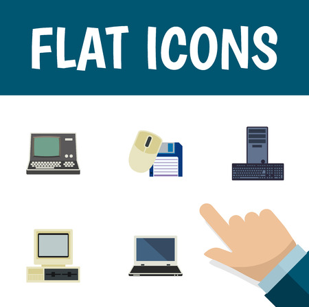 computerized: Flat Icon Laptop Set Of Technology, Notebook, Processor And Other Vector Objects.