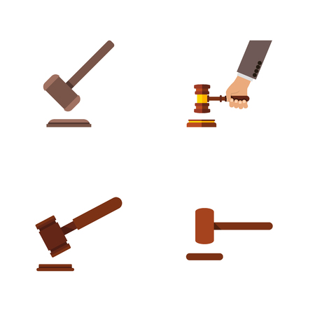 Flat Icon Hammer Set Of Tribunal, Justice, Defense And Other Vector Objects