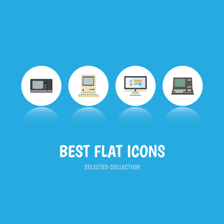 Flat Icon Computer Set Of Technology, Vintage Hardware, Computing And Other Vector Objects