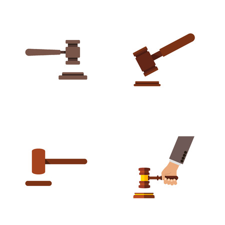 Flat Icon Hammer Set Of Legal, Crime, Justice And Other Vector Objects