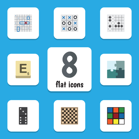 Flat Icon Games Set Of Jigsaw, Bones Game, Gomoku And Other Vector Objects