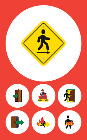 doorknob: Flat Icon Emergency Set Of Emergency, Entrance, Directional And Other Vector Objects