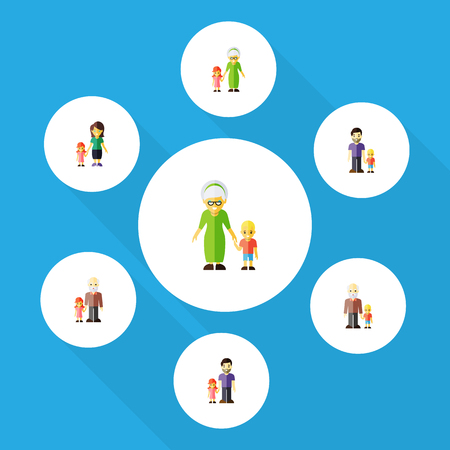 Flat Icon Family Set Of Grandpa, Grandchild, Son Vector Objects. Also Includes Son, Family, Father Elements.