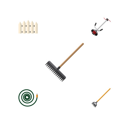 Flat Icon Farm Set Of Grass-Cutter, Wooden Barrier, Hosepipe And Other Vector Objects. Also Includes Tool, Fence, Hosepipe Elements. Illustration