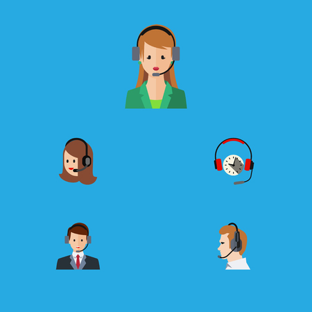 narrator: Flat Icon Telemarketing Set Of Secretary, Headphone, Service And Other Vector Objects. Also Includes Service, Center, Human Elements. Illustration