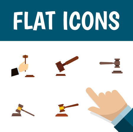 Flat Icon Court Set Of Legal, Court, Hammer And Other Vector Objects. Also Includes Defense, Court, Tribunal Elements.