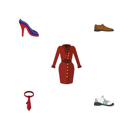 Flat Icon Dress Set Of Male Footware, Heeled Shoe, Clothes And Other Vector Objects. Also Includes Garment, Sandal, Footware Elements.