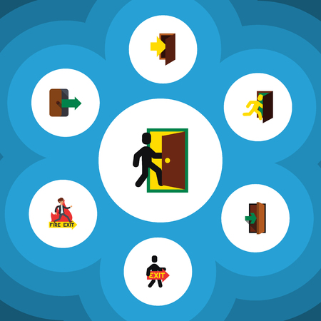 doorknob: Flat Icon Emergency Set Of Evacuation, Exit, Directional And Other Vector Objects. Also Includes Emergency, Exit, Fire Elements. Illustration