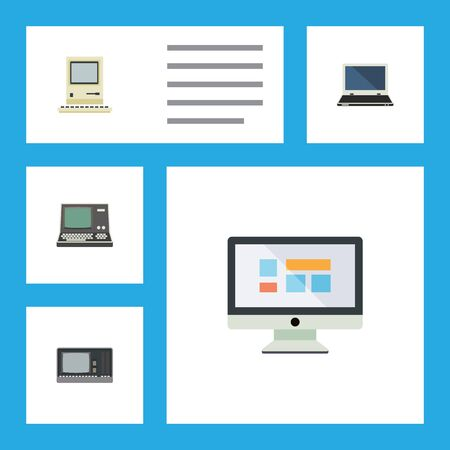 Flat Icon Laptop Set Of Vintage Hardware, Computing, Technology And Other Vector Objects. Also Includes Computing, Display, Vintage Elements.