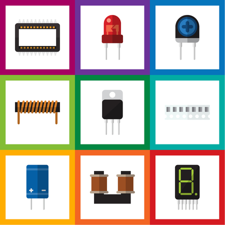 Flat Icon Device Set Of Transducer, Receiver, Recipient And Other Vector Objects. Also Includes Display, Memory, Spool Elements. Illustration