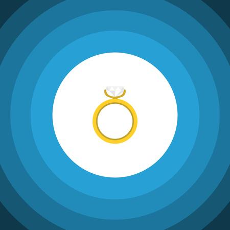 Icône plate anneau isolé. L'élément de vecteur de fiançailles peut être utilisé pour l'anneau, mariage, concept de fiançailles. Banque d'images - 83390811