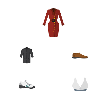 Flat Icon Garment Set Of Clothes, Sneakers, Uniform And Other Vector Objects. Also Includes Shoe, Kimono, Footware Elements.