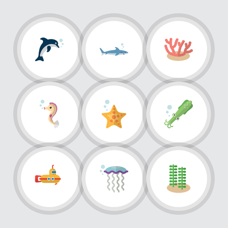 Flat Icon Marine Set Of Octopus, Algae, Periscope And Other Vector Objects. Also Includes Alga, Squid, Seaweed Elements.