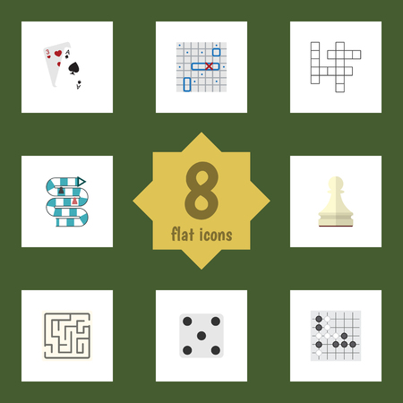 backgammon: Flat Icon Play Set Of Pawn, Guess, Gomoku And Other Vector Objects. Also Includes Games, Dice, Table Elements.
