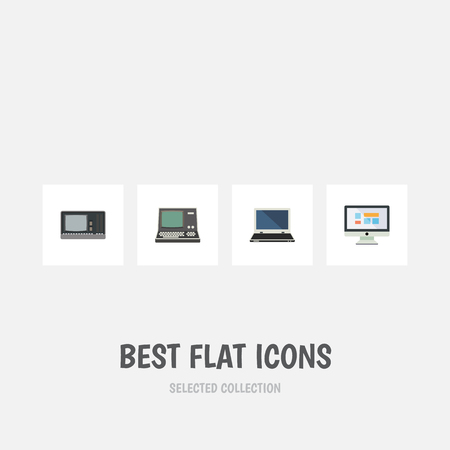 Flat Icon Laptop Set Of Display, Technology, Notebook And Other Vector Objects. Also Includes Display, Notebook, Retro Elements.