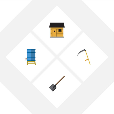 empty warehouse: Flat Icon Dacha Set Of Cutter, Shovel, Container And Other Vector Objects. Also Includes Shovel, Tool, Cutter Elements. Illustration