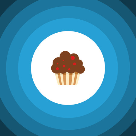 Isolated Cupcake Flat Icon. Muffin Vector Element Can Be Used For Cupcake, Muffin, Dessert Design Concept.