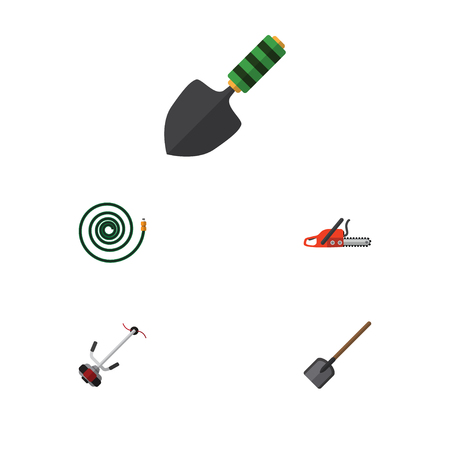 Flat Icon Dacha Set Of Hosepipe, Grass-Cutter, Trowel And Other Vector Objects. Also Includes Cutter, Spade, Shovel Elements.
