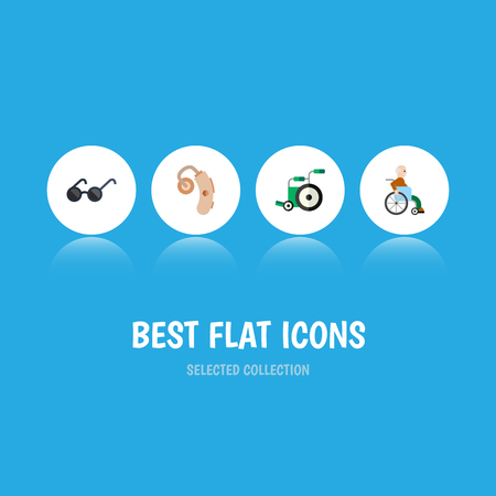 silent: Flat Icon Handicapped Set Of Spectacles, Handicapped Man, Audiology Vector Objects. Also Includes Wheelchair, Man, Sunglasses Elements. Illustration