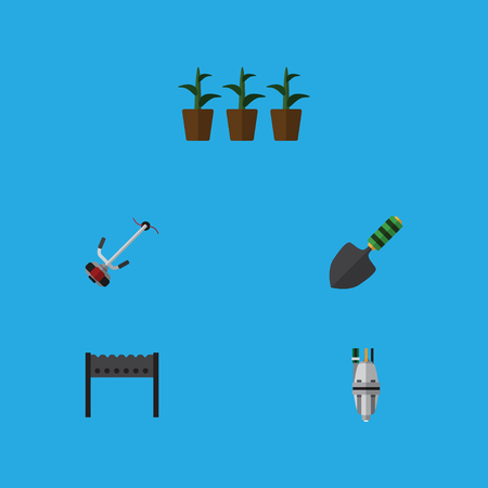 Flat Icon Garden Set Of Barbecue, Pump, Flowerpot And Other Vector Objects. Also Includes Pump, Flowerpot, Tool Elements.