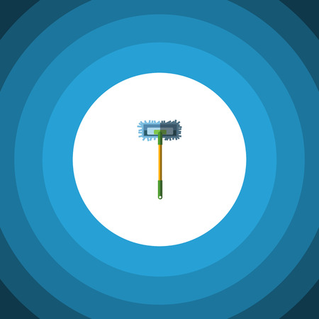 scrubbing: Isolated Broomstick Flat Icon. Besom Vector Element Can Be Used For Broomstick, Sweep, Besom Design Concept.