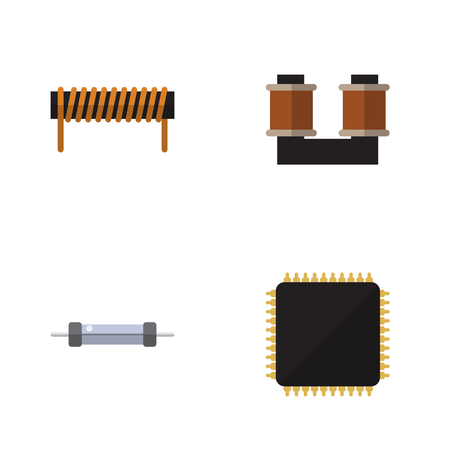 Flat Icon Appliance Set Of Cpu, Coil Copper, Bobbin And Other Vector Objects. Also Includes Microprocessor, Resistance, Copper Elements. Illustration