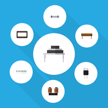 microcircuit: Flat Icon Appliance Set Of Destination, Coil Copper, Receiver And Other Vector Objects. Also Includes Set, Processor, Transistor Elements. Illustration