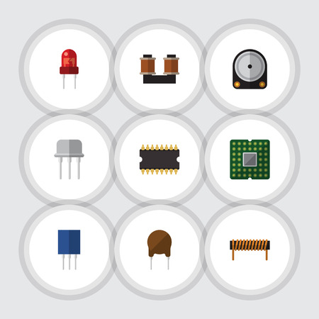 Flat Icon Appliance Set Of Microprocessor, Bobbin, Hdd And Other Vector Objects. Also Includes Transistor, Unit, Receptacle Elements.