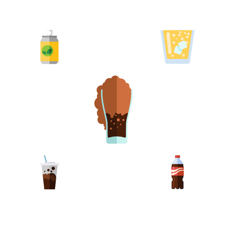 Flat Icon Beverage Set Of Carbonated, Bottle, Beverage And Other Vector Objects. Also Includes Beverage, Soda, Fizzy Elements.